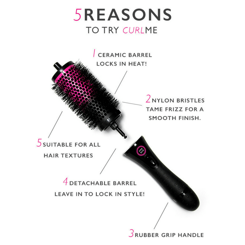 CurlME Detachable Hair Brush Starter Set - 6 Brush Barrels
