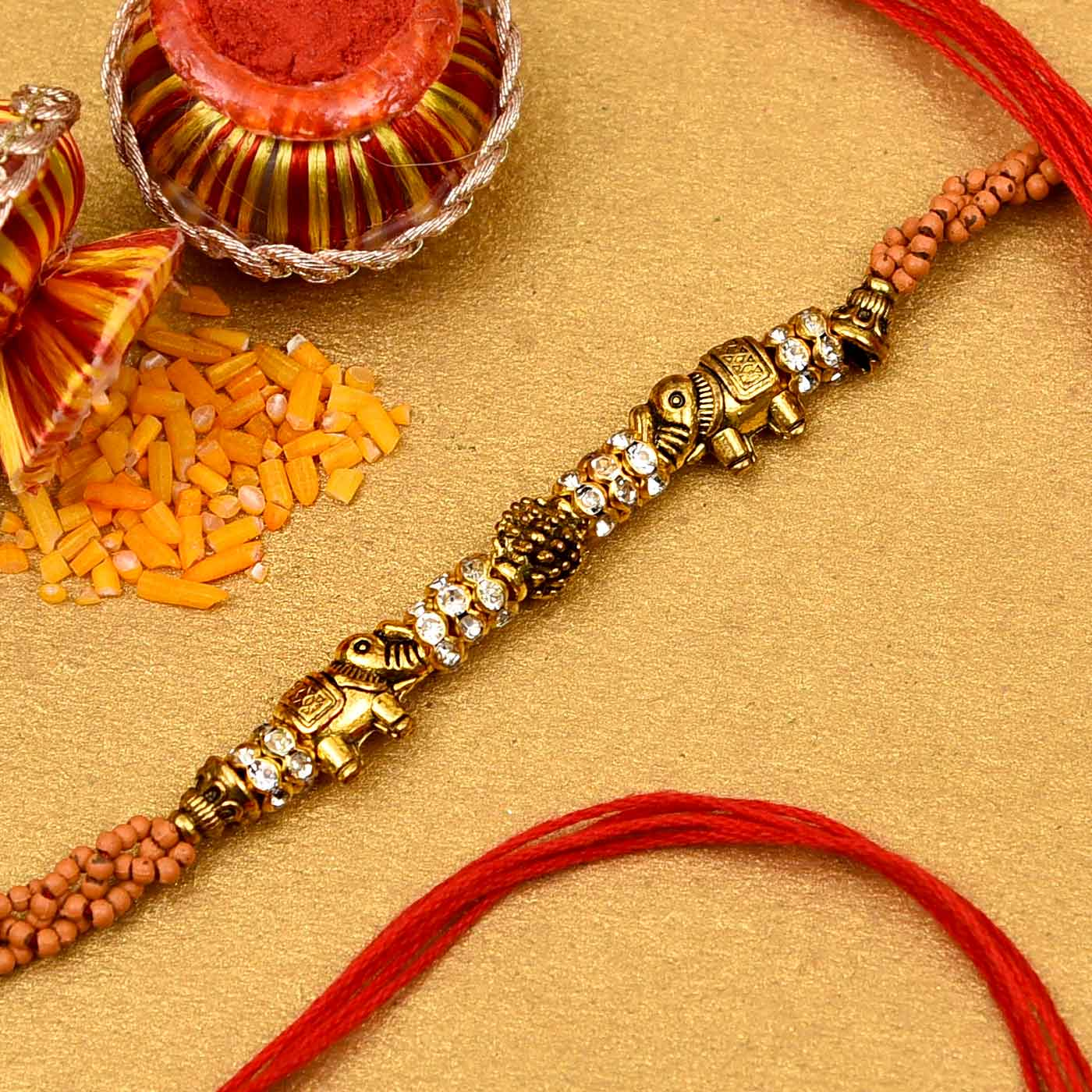 Elephants & Stones Studded Rakhi
