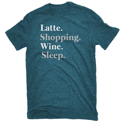 Latte Shopping Wine Sleep Tee