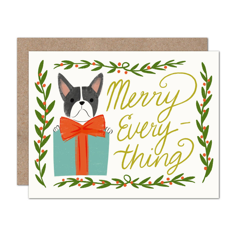 Olive & Company - Merry Everything Frenchie Holiday Card