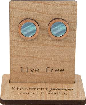 Statement Peace  Abalone Studs