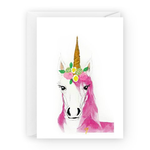 claire jordan designs - floral unicorn greeting card