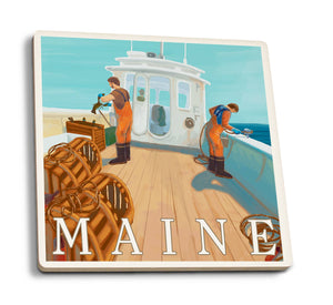 Lantern Press - Maine - Lobster Fishing Ceramic Coaster