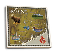 Lantern Press - Maine Map and Icons Ceramic Coaster