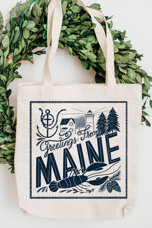 Olive & Company - Greetings From Maine Natural Canvas Grocery Tote