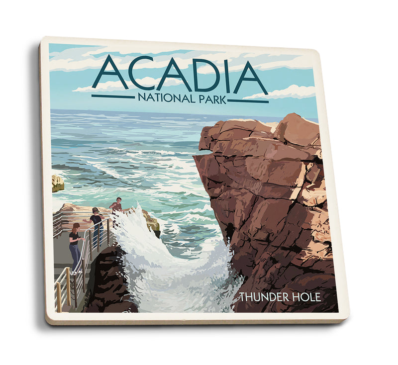 Lantern Press - Acadia National Park - Maine Thunder Hole Day Coasters