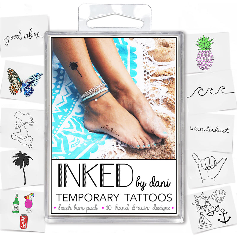 INKED by Dani - The Beach Bum Pack - Temporary Tattoos