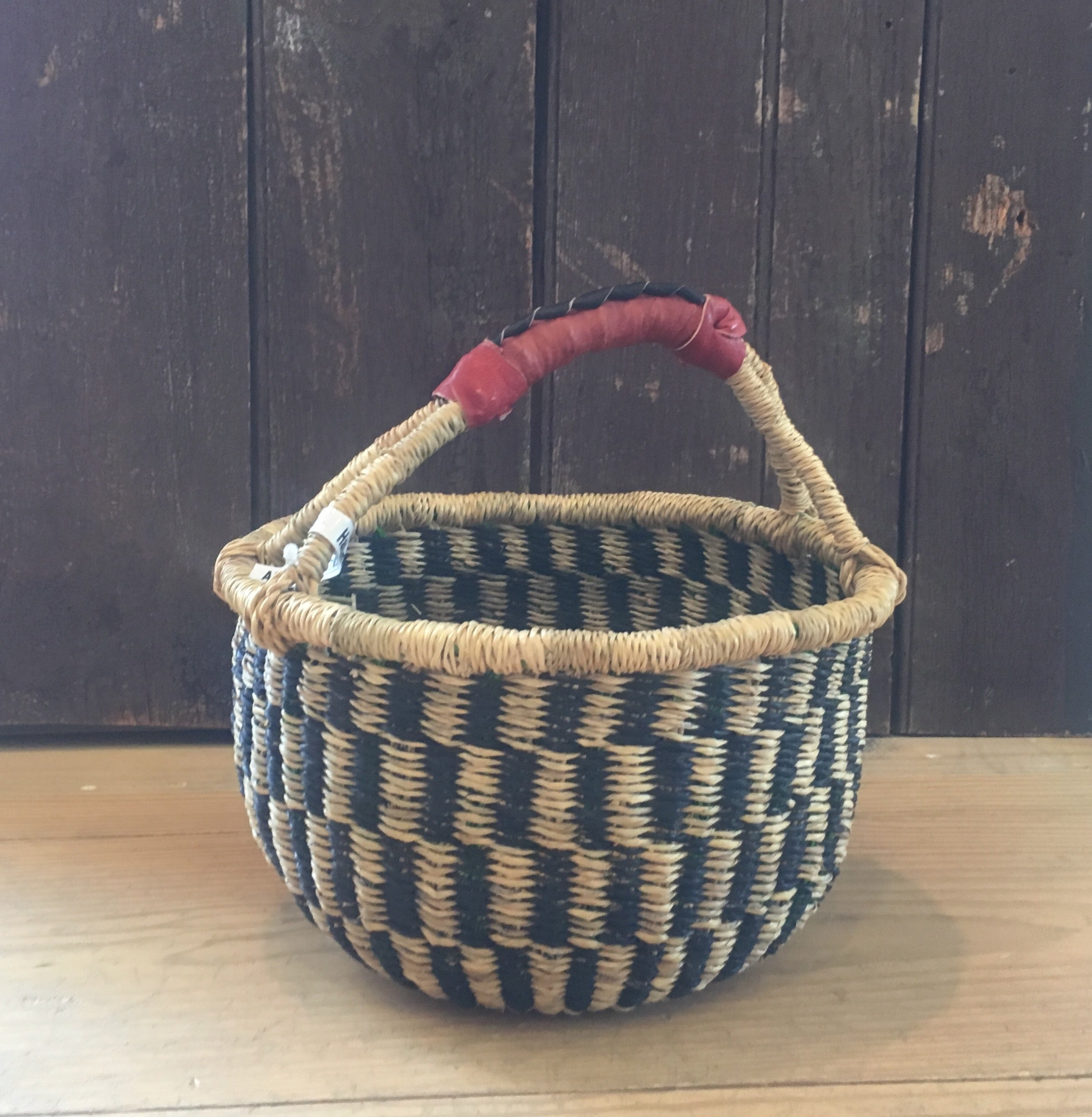 Mini African Basket with Leather Handle