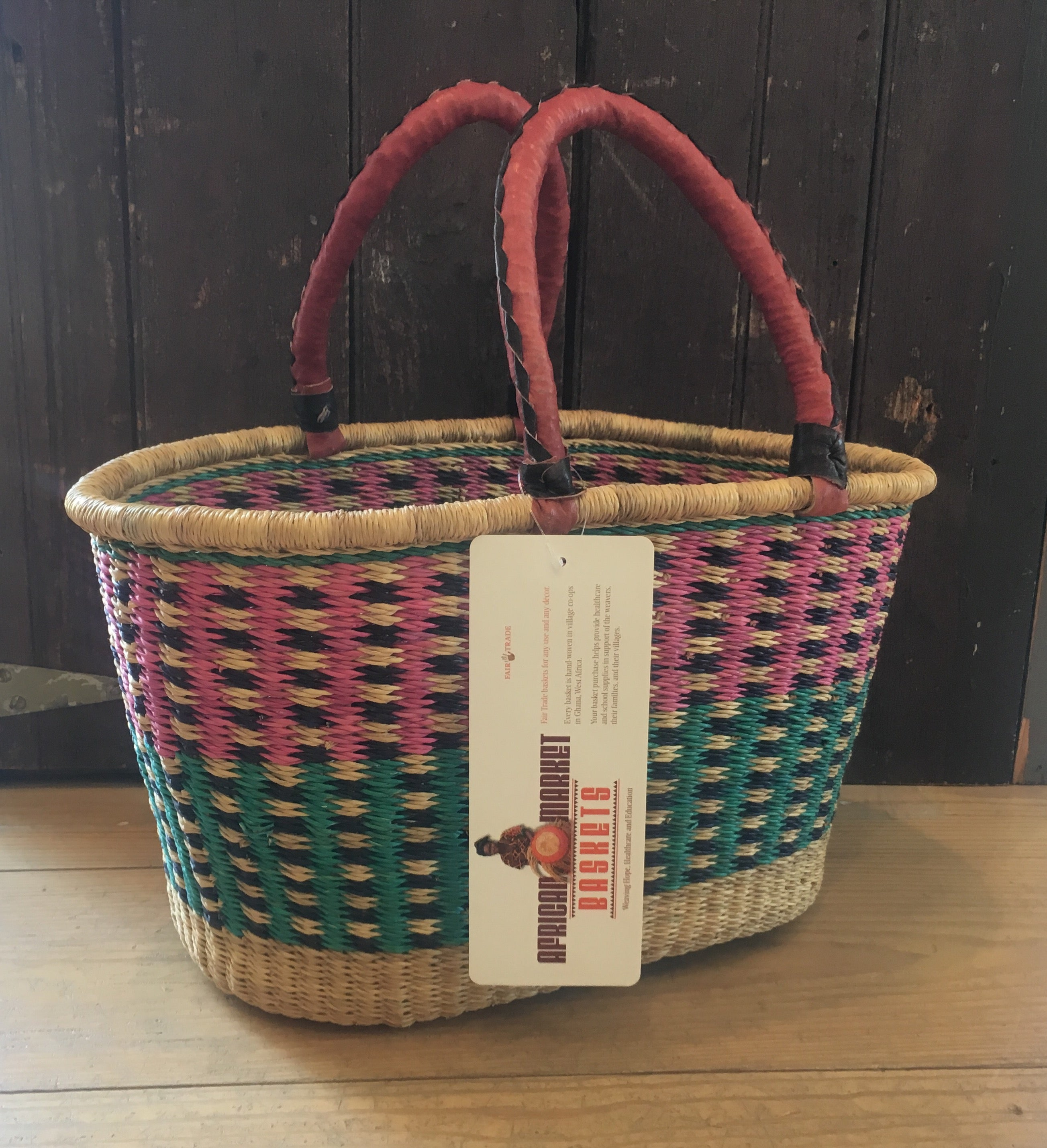 Oval African Basket with Leather Handle