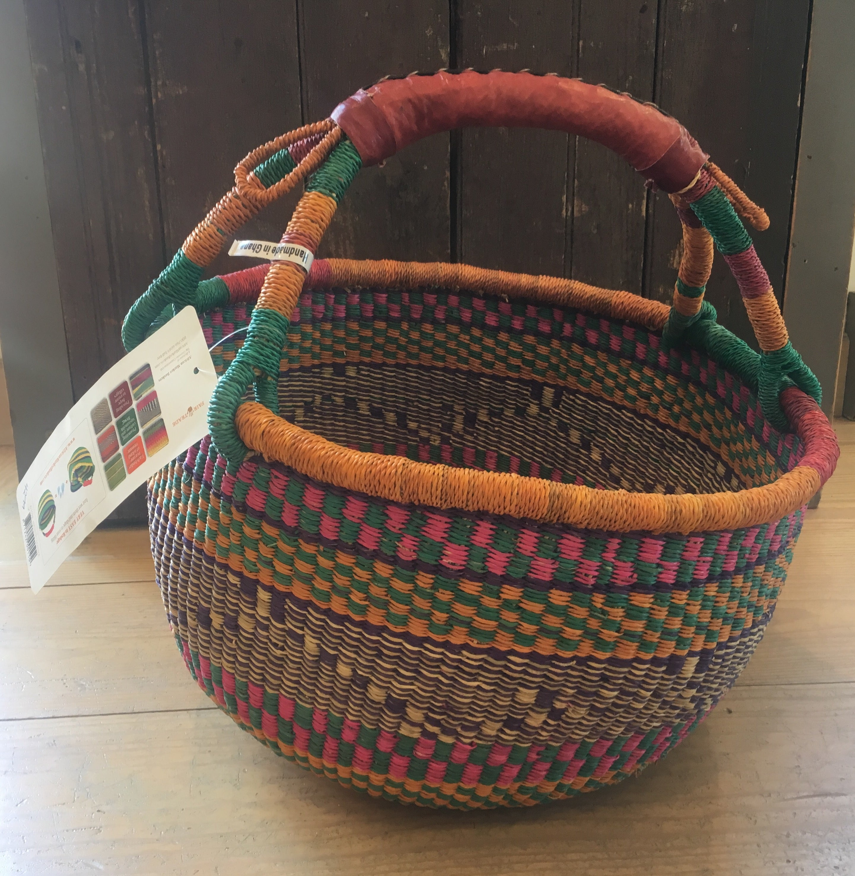Large Round African Basket with Leather Handle