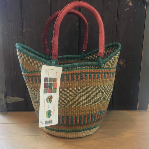Shopping Tote with Leather Handle