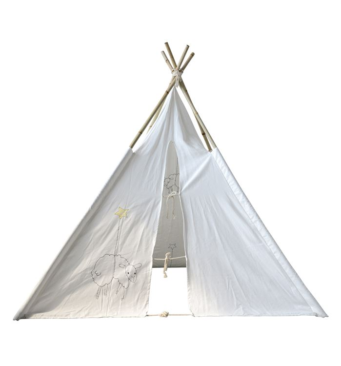Canvas Teepee w/ Embroidered Sheep & Bamboo Poles