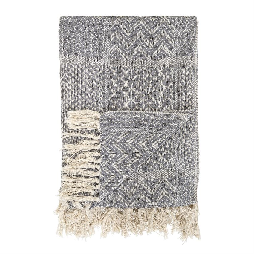 Cotton Blend Knit Throw w/ Fringe - Grey Pattern