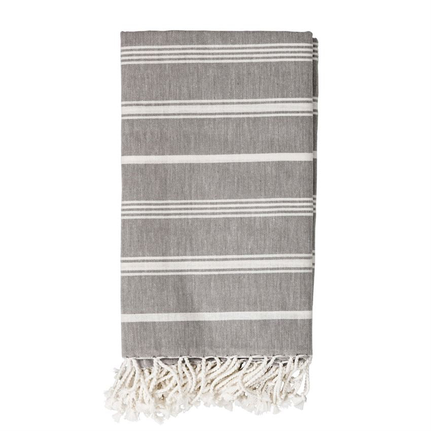Cotton Woven Throw w/ White Stripes & Fringe