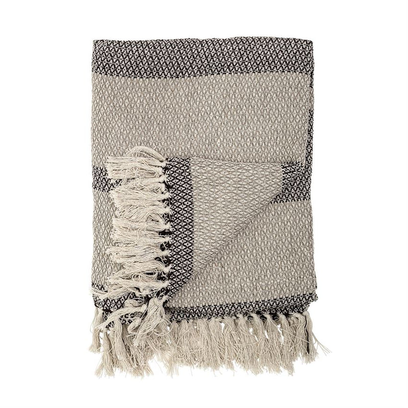 Cotton Blend Knit Throw w/ Fringe, Grey Stripe