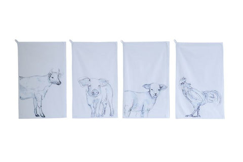 Cotton Tea Towel w/ Farm Animal