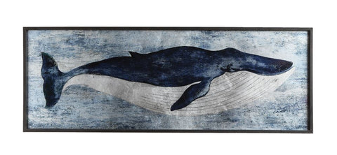 Metal Whale Art Under Glass Framed