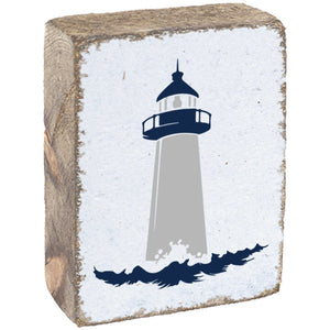 Lighthouse Blue & White & Grey on Rustic Wooden Block