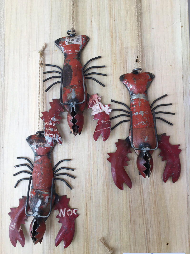 Reclaimed Metal Lobster Ornament