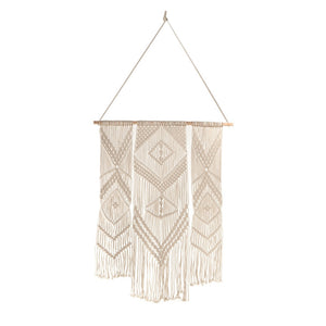 Hand Woven Three Panel Macrame Wall Hanging.  Come see Blue Whale Trading Company's wide selection of home furnishings as well.