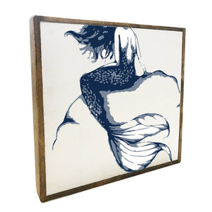 Mermaid Blue & White Square Framed Rustic Wooden Wall Art