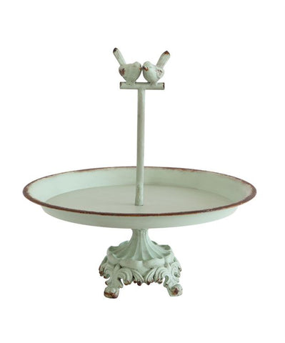 Metal & Resin Pedestal w/ Birds, Distressed Aqua