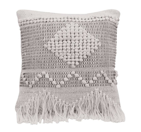 "18"" Square Textured Cotton Pillow, Ivory & Grey"