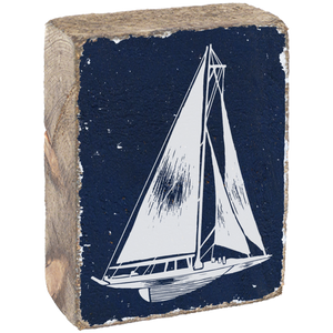 Sailboat Navy Blue & White On Rustic Wood Block