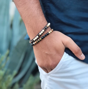 Men's Single Wrap Bracelet Lotus and Luna
