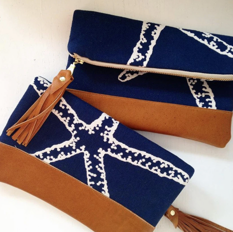 Navy Starfish Foldover Clutch Bag