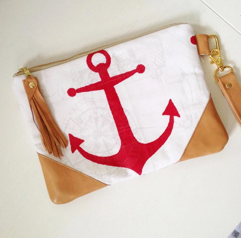 Anchor Clutch Bag - Red & Light Tan Leather