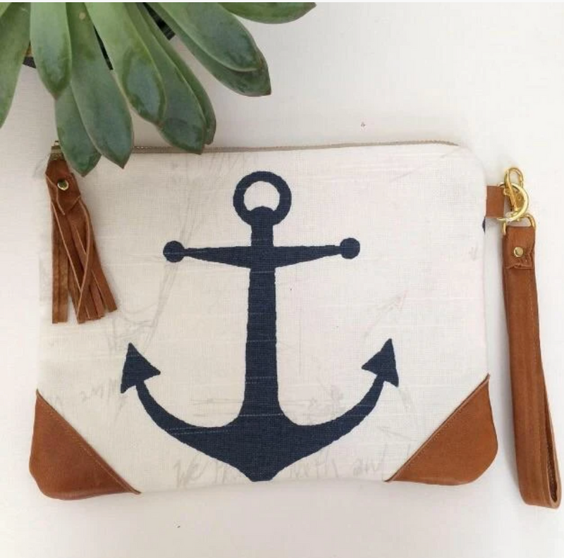 Anchor Clutch Bag - Navy & Light Tan Leather