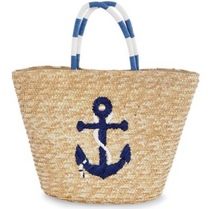 Sea Straw Tote Bag Navy Anchor
