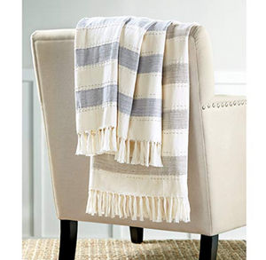 Navy Chambray Stripe Blanket
