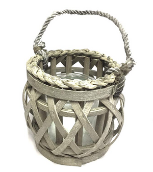 Grey Willow Votive Lantern with Glass