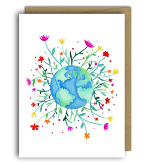 Earth Flowers Greeting Card - Fox and Crow