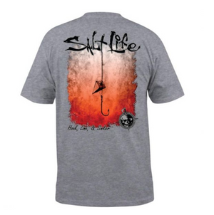Hook Line and Sinker Fade Pocket Tee - Athletic Heather