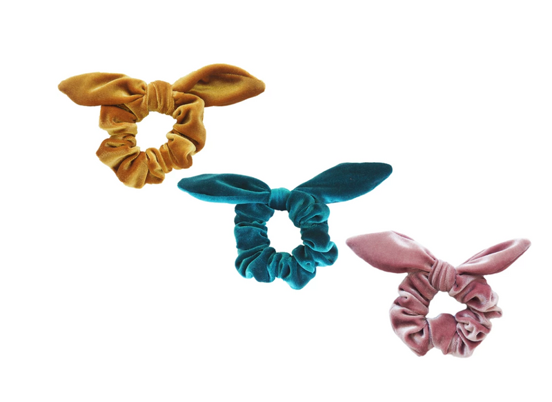 Velvet scrunchies with Bow - Assorted