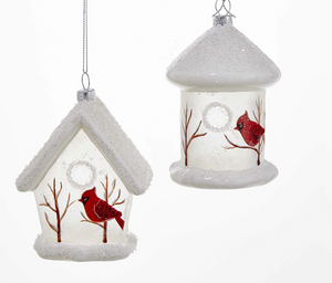 "5"" Glass Cardinal Bird House Ornament"
