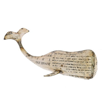 White Metal Whale - Newspaper Theme (Large)