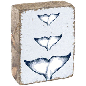 Rustic Marlin Whale Tails White & Blue on Rustic Wooden Block