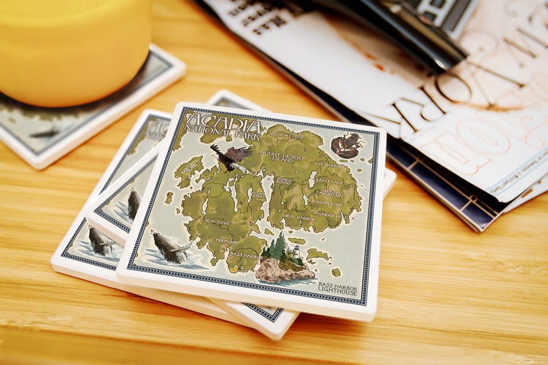 Lantern Press - Acadia National Park Maine - Map Ceramic Coasters