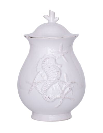 "Blue Sky Clayworks - 9"" Seahorse Canister"