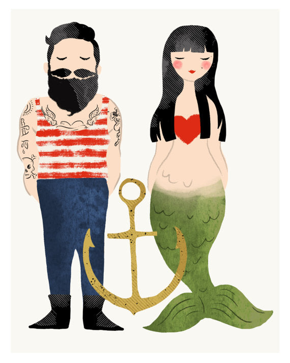 Olive & Company - Sailor & Mermaid Art Print - 8 X 10
