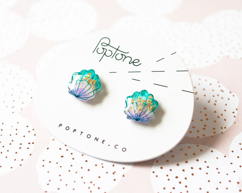 Poptone Co. - Mermaid Shell Earrings with Gold Leaf
