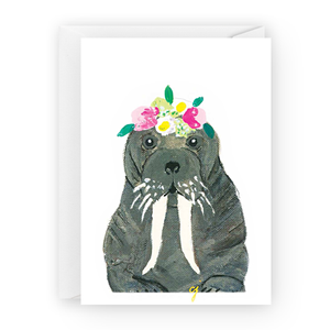 claire jordan designs - floral walrus greeting card