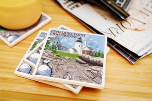 Lantern Press - Maine - Pemaquid Lighthouse Ceramic Coasters