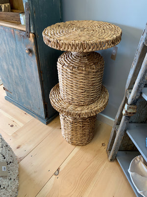 Round Natural Water Hyacinth Side Table [In-Store Only]