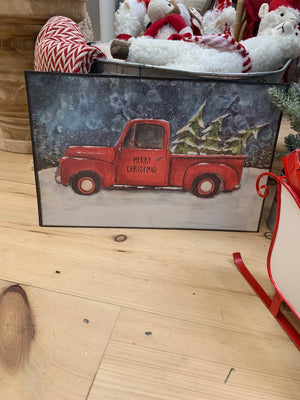 Metal Red Truck Christmas Wall Decor