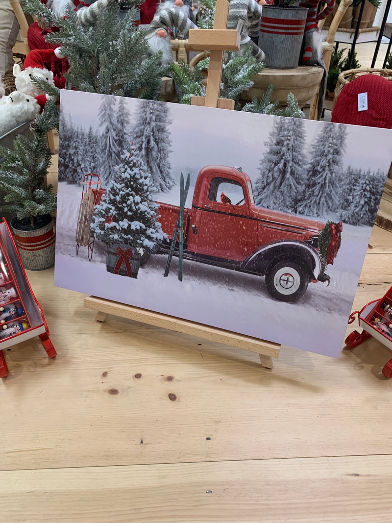 Red Truck Canvas Christmas Wall Decor